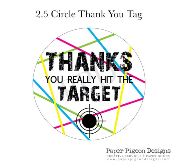 Neon Laser Tag Printable Thank You Tags Or Stickers Digital
