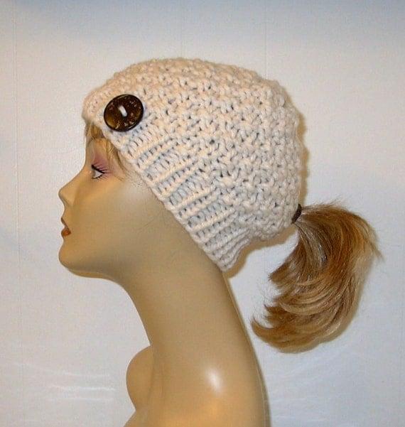 Knit Hat Pattern Ponytail Hole : Chunky Knit Pony Tail Hat Moss Stitch Beanie by ...