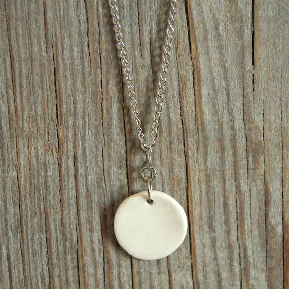 MEDIUM glossy white round stoneware pendant