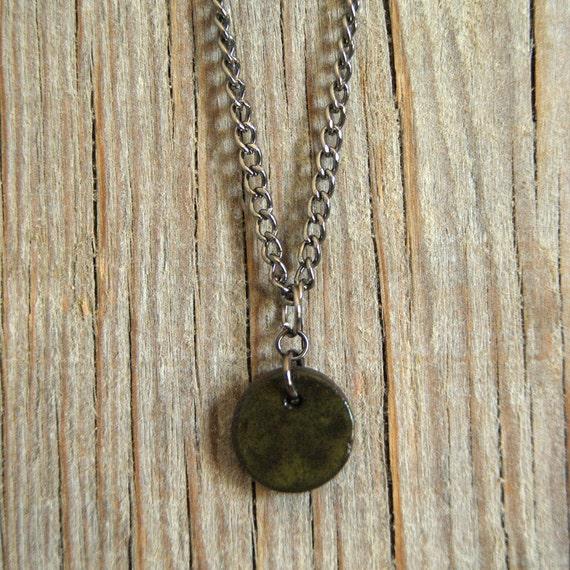 SMALL glossy khaki round stoneware pendant