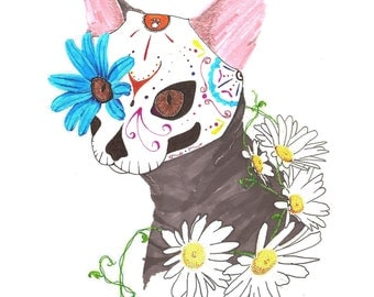 Sugar skull cat Day of the dead ink drawing day of the cat dia de los muertos white and blue daisy flowers cats 8.5x11