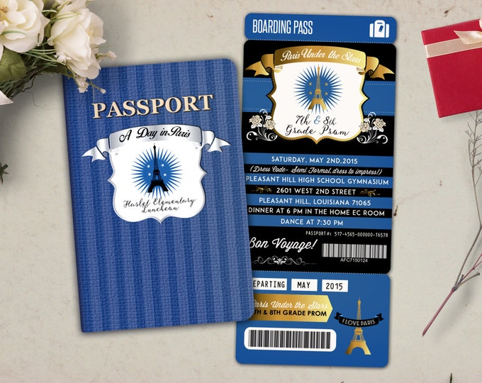 Paris,,Prom,PASSPORT and TICKET invitation! Birthday party, bridal shower- travel birthday, invitation, prom, passport invitation, dance