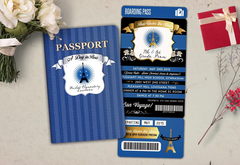 ParisPromPASSPORT and TICKET invitation Birthday party bridal – Birthday Invitation Tickets