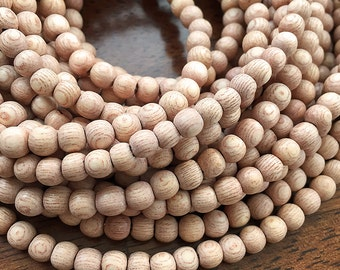 Small Natural Rosewood Beads, Round Wooden Beads, Natural Wood Mala Beads, Handcrafted Wooden Beads, 5mm to 6mm - 65 beads (W6-03)