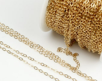 1.5mm Gold-filled Chain by the YARD-- Flat Chain
