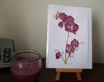 Watercolour print card, A6, Pink Orchid, fine art