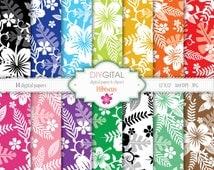 Hibiscus- Colorful Hawaiian Style Digital Paper Set with Hibiscus- Tropical Digital Paper- Hawaii Digital Paper- Summer Digital Paper