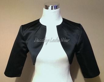 Black Satin Bolero Fully Lined - UK 4-26/US 1-22 Shrug/Cropped Jacket/Wrap/Shawl/Stole/Tippet - Pleated neck