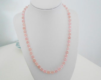 Pink Jade Necklace, Pink Jade and Sterling Silver Beaded Necklace, Pink and Silver Necklace, Bride/Bridesmaid Necklace
