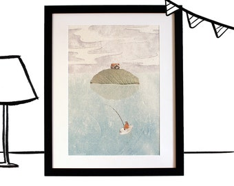 Poster landscape to the fisherman, an original illustration, A3 printing