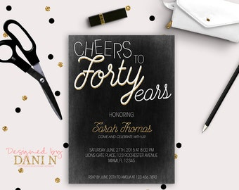40th Birthday Invitation, elegant black and gold invite, vintage chic, 50 Birthday party, 60 Invitation, Printable DIY, adult party