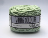 Set of 2 x 50g double knit balls - Vinnis Colours, 100% cotton yarn, hand dyed - Pale Sage