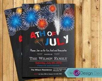 July 4th Invitation/Independent day Invitation/4th of July Party/July 4th Fireworks Invite/Fireworks #H1016