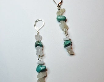 MARTI - Turquoise and white chipped drop earrings