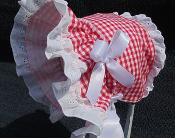 New Handmade Red Gingham with White Cotton Eyelet Lace Baby Sun Bonnet