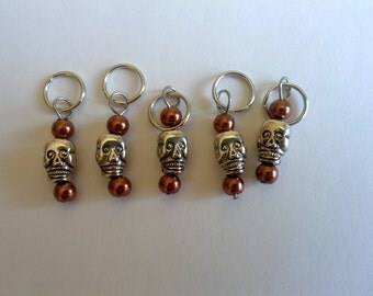 Copper Sugar Skull Stitch Markers - Set of 5