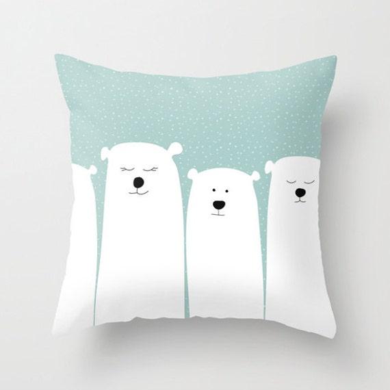 Animal Pillows For Nursery : Polar Bear Pillow White Bears Art Custom Shams Animal Kids