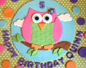 Edible Fondant Owl Themed Cake Topper with Happy Birthday Lettering and dots.