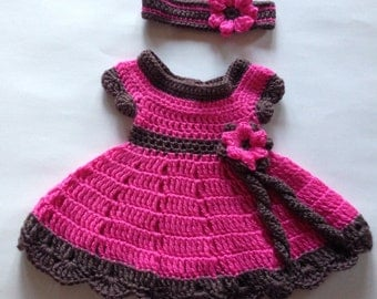 Pink and Brown Crochet Baby Dress and Headband with Flower, Baby Crochet Dress Gift