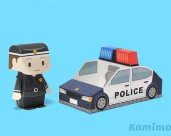 Police Car Paper Toy / Printable Paper Craft PDF /  Tatten Plus - Emergency Vehicles