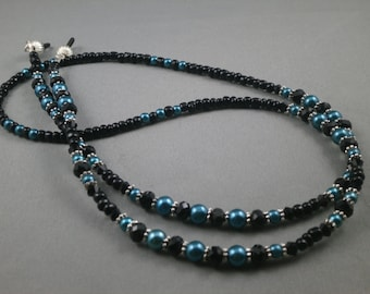 "teal pearl and black crystal beaded  lanyard 28"" to 42"" Your choice of attachment: Id , key or eyeglass holder"