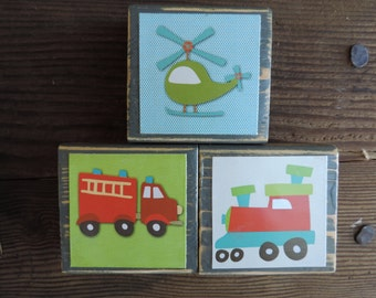 Fire Engine, helicopter, Train Wood Blocks, Little Boy Blocks,