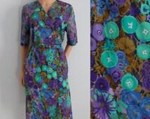 Floral summer dress, purple & mint green patterned, french vintage retro, short sleeved, button up, knee length, medium large