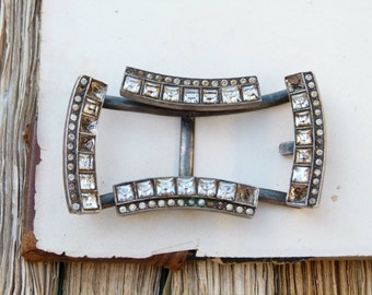 Antique Art Deco heavy silver metal and square cut chatons buckle, jewellery supplies, costume design, couture vintage bride, bouquet