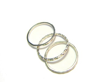 "Ring ""Trindade"" - 3 rings thin silver solid"