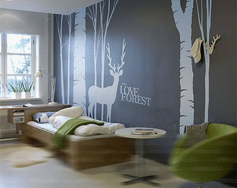 Tree wall decals mural vinyl Forest fawn wall decal - deer in Forest vinyl wall decals -Removable decorative wall stickers TV setting decals