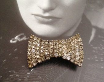 "1900""s - 1930's Bow- Tie Bollo Silver Diamante Paste"