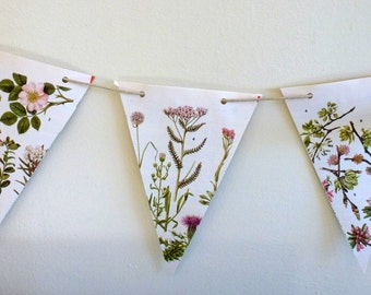 Floral Paper Bunting Pink/Blue