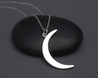 Crescent Moon Necklace Sterling Silver Celestial Pendant Charm, Celestial Jewelry, Astrology Jewelry