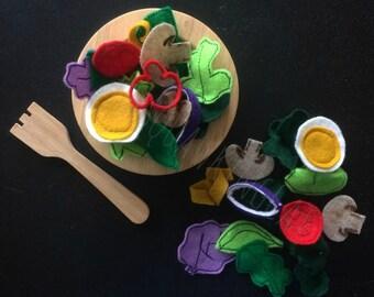 The Rainbow Felt Salad - Felt Salad - Felt Food - Felt Toys - Play Salad - Play Food - Play Food Set - Felt Lettuce - Felt Egg - Felt Noms
