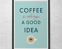 MODERN COFFEE POSTER  -  Coffee Shop Poster - Kitchen Wall Art Pop Art Poster Modern Kitchen Art Stylish Kitchen Home Decor Cafe Poster
