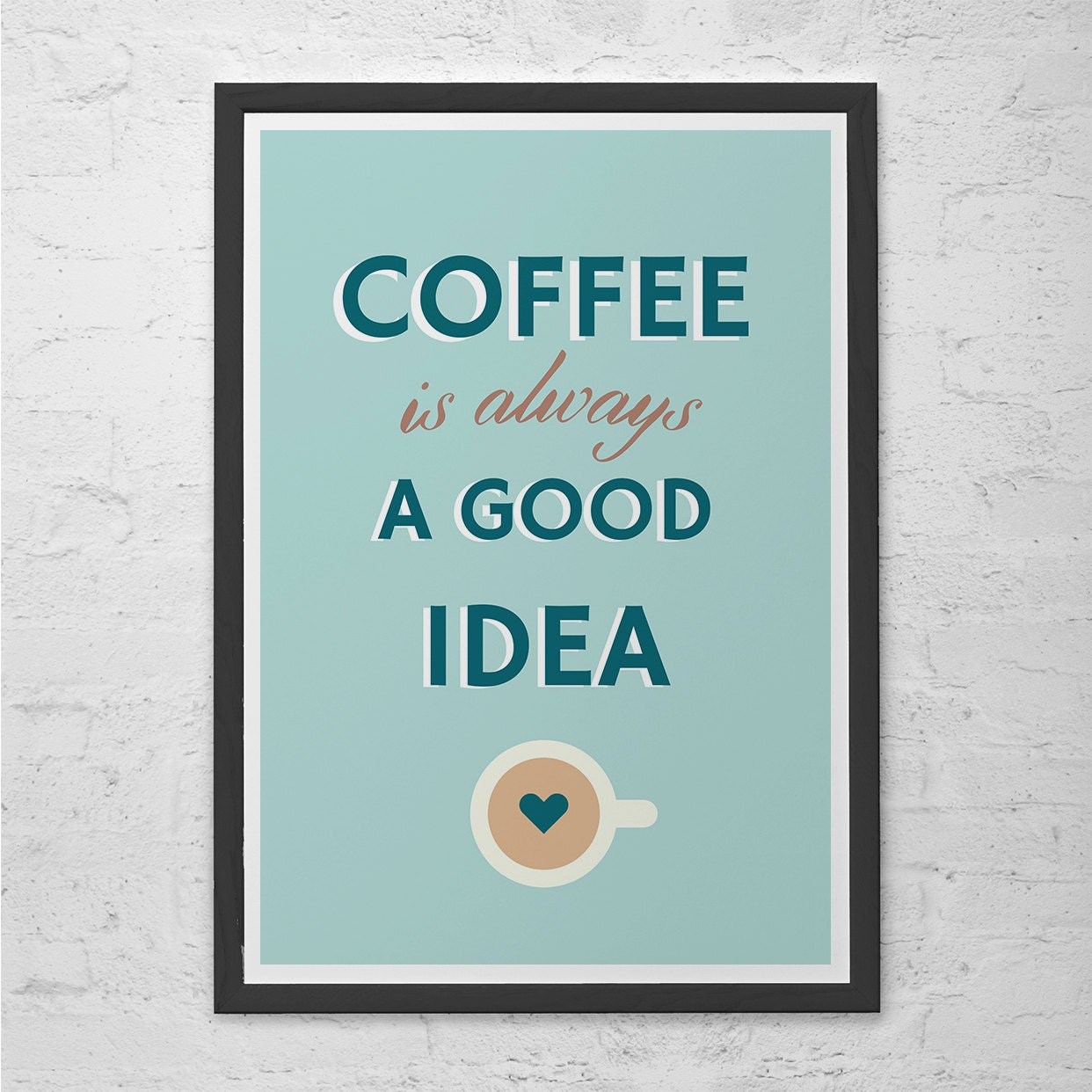 Modern coffee poster coffee shop poster kitchen wall art for Kitchen wall prints
