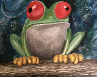 Contemplating....fine art with a twist/tree frog in acrylic on canvas