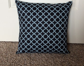 Blue and black throw pillow cover