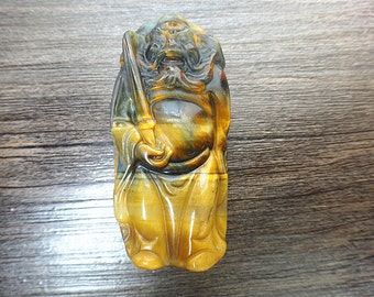 """unique natural color Tiger Eye Pendant Zhong Kui, """"security and peace"""" mascot pendant"""