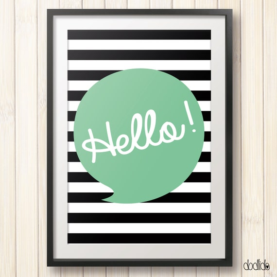 Hello Poster,printable children's wall art,instant download,kids wall art,mint,stripes,nursery decor,nursery printable,kids poster,kids room