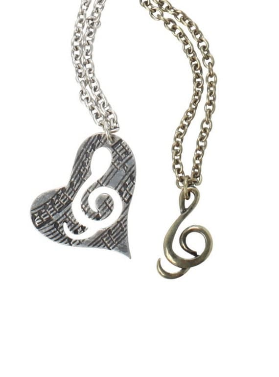 couple necklace music necklace love music necklace by cetro