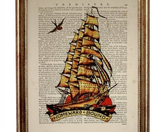 Sailor Jerry Homeward Bound Ship Dictionary Art Print on Upcycled Book page 8 x 10 inches
