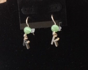 Letter K Cats Eye Initial Earrings Drops 3/4 in.