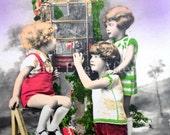 Little Bird Watchers // Original tinted RPPC 1930s birdcage postcard // Adorable 30s children in bobby socks & suspenders, 1930s bird cage