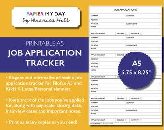 A5 Filofax Job Application Tracker - Job Application Log for Filofax A5 and Kikki K Large / Personal Planners