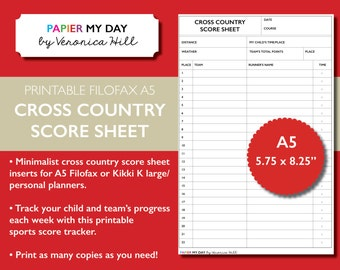 Printable A5 Filofax Cross Country Score Sheet - Cross Country Score Sheets for Filofax and Kikki K planners
