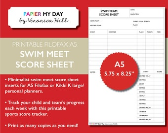 Printable A5 Filofax Swim Meet Score Sheet - Swim Meet Score Sheets for Filofax and Kikki K planners