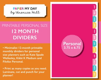 Printable Personal Monthly Dividers - 12 Months - Custom Colors Available for Extra Fee