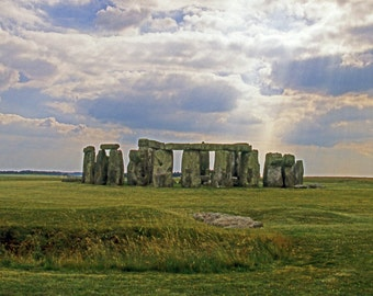 Stonehenge Fine Art Photography Wall Photo Print, Landmark Monument Wiltshire England Vacation Blue Sky White Clouds Yellow Green Landscape