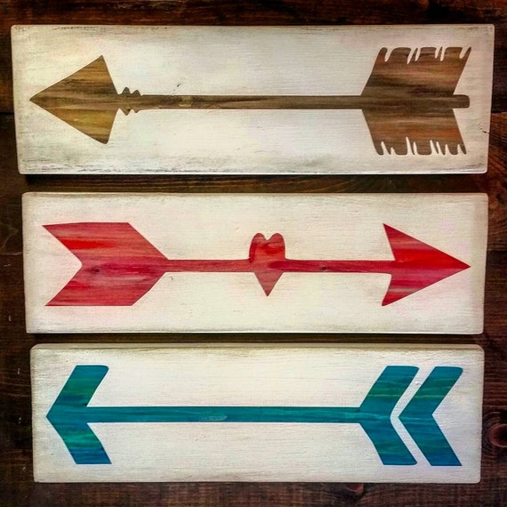 Custom Painted Wood Arrow Signs Set Of 3 Nursery Decor Home